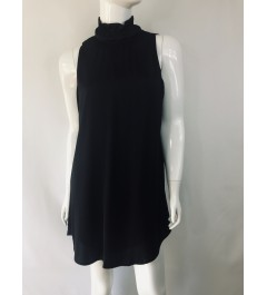Ruched Neck Black Dress