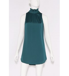 Tyche Ruched Neck Teal Dress
