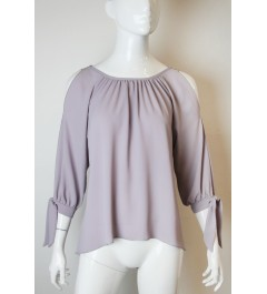 Tyche Dove Gray Open Sleeve Top